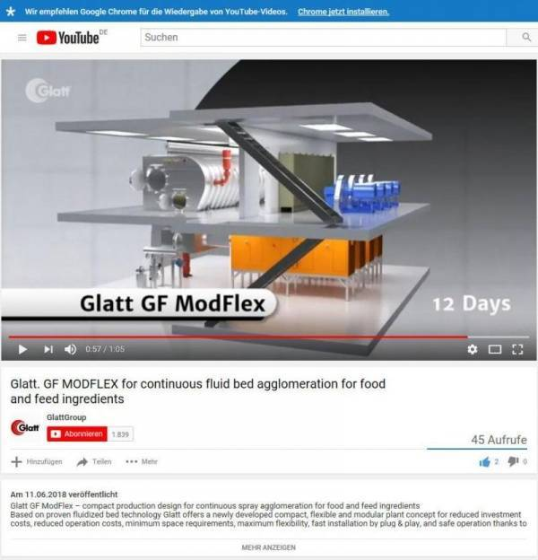 Glatt GF ModFlex  - newly developed, compact plant design for continuous spray agglomeration of food and feed ingredients