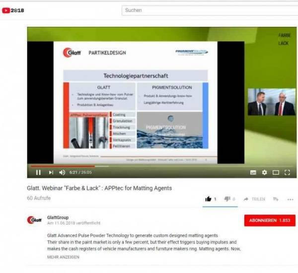 Innovative Matting Agents by means of Glatt APPtec Video of Webinar @ 'Farbe und Lack' at 14.03.2018 (German)