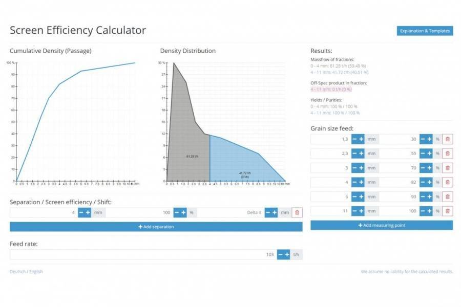 Screen Efficiency Calculator Free tool for calculating purity and yield