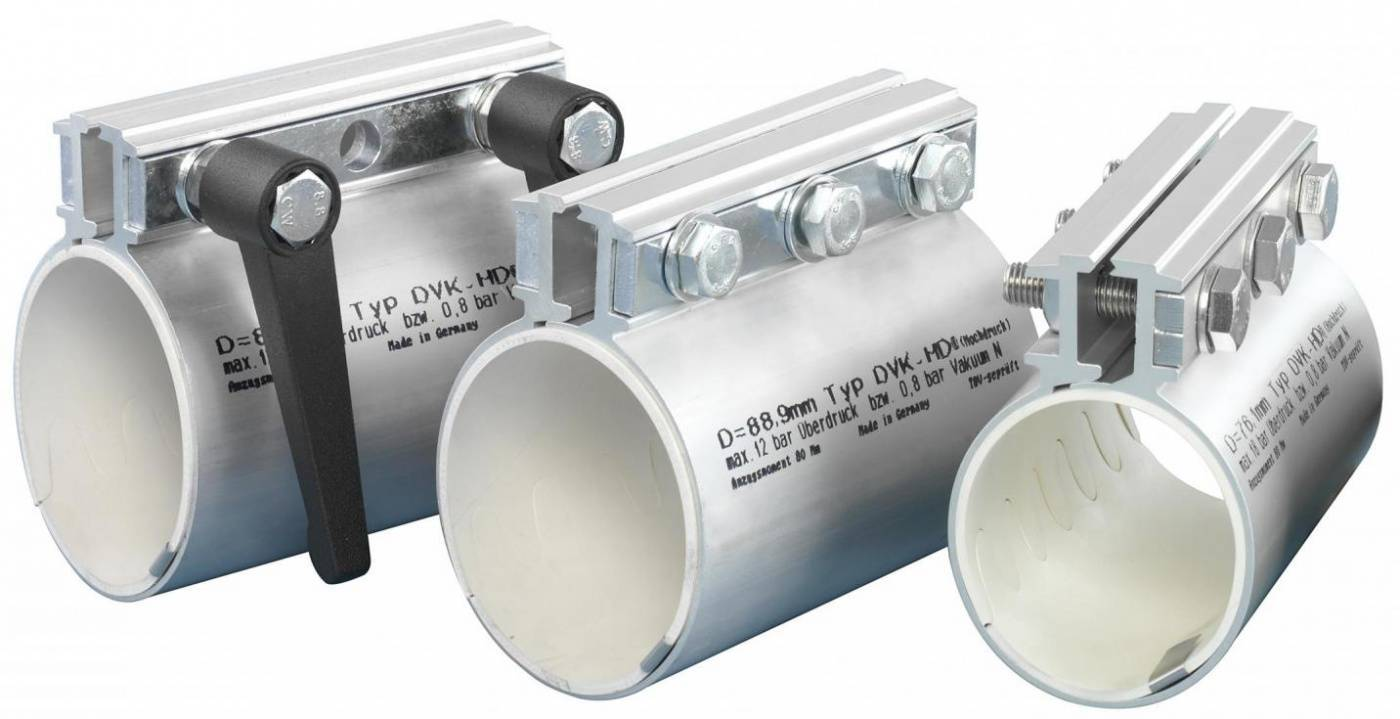 Pipe couplings for pneumatic conveying systems DVK-HD high pressure pipe couplings