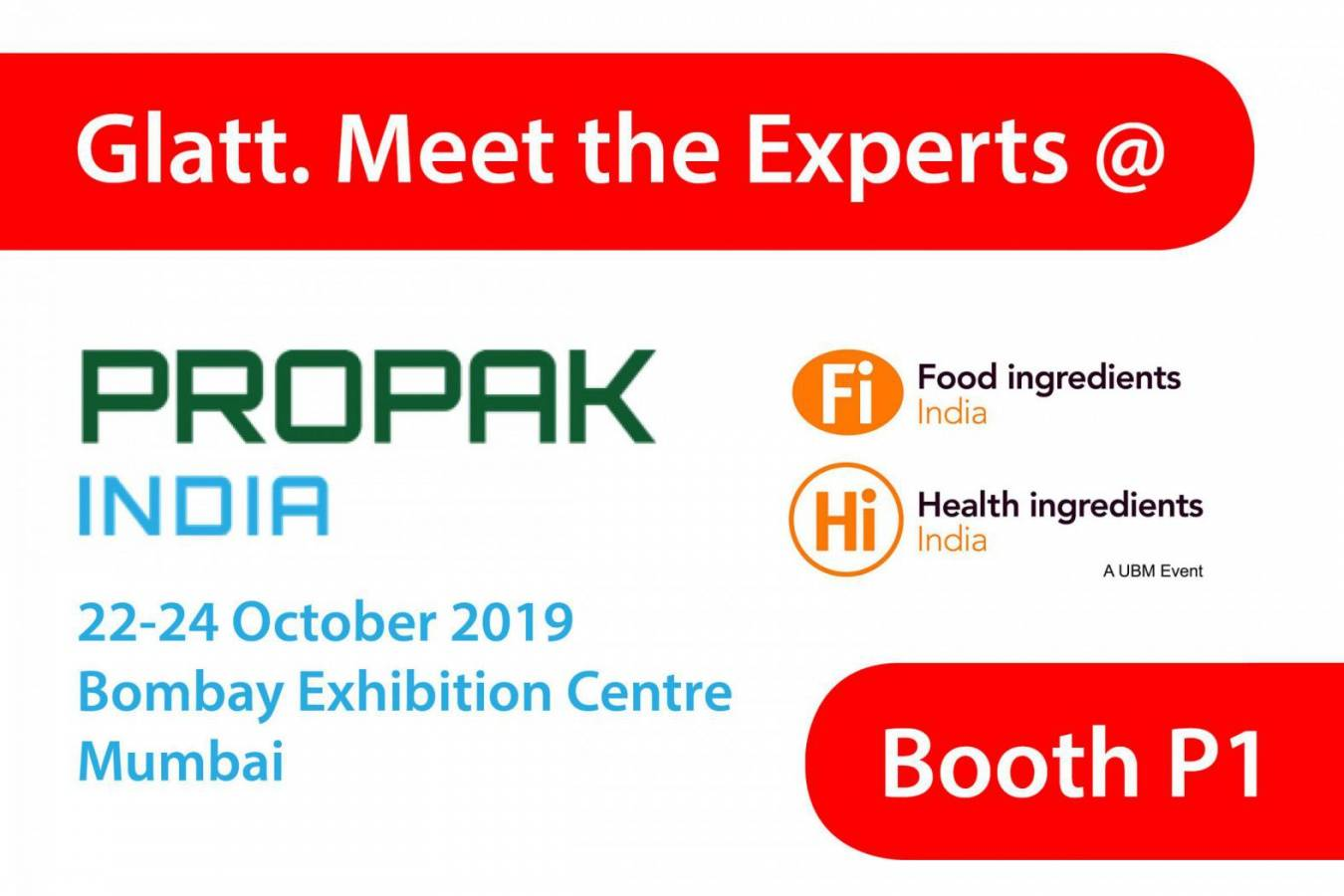 Meet the Glatt Experts @ ProPack India - Booth P1