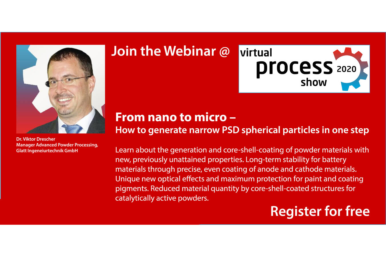 Join the Webinar: Narrow PSD spherical particles by Glatt Powder Synthesis From nano to micro – How to generate narrow PSD spherical particles in one step