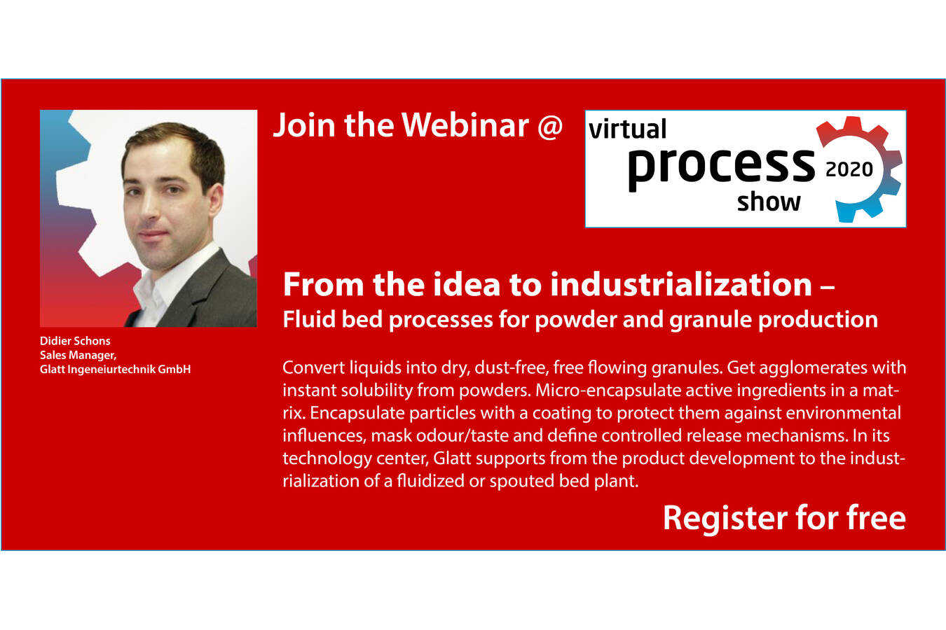 Join the webinar on integrated powder and granule production and enhancing From the idea to industrialization – Fluid bed processes for powder and granule production